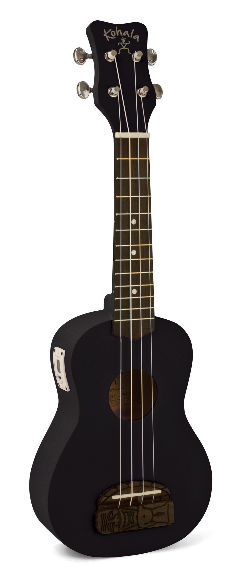 KT-STBK Kohala Tiki Uke Black Soprano Ukulele with built in tuner