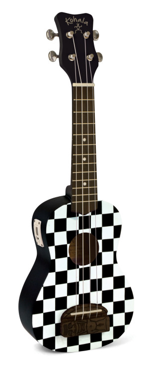 Kohala KT-STCB tiki Uke Checkerboard Soprano Ukulele with built in tuner