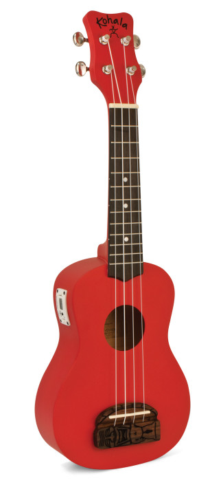 Kohala KT-STRD Tiki Uke Red Soprano Ukulele with built in tuner