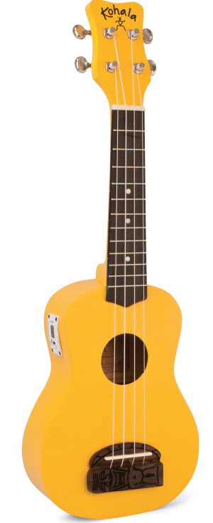Kohala KT-STYE Tiki Uke Yellow Soprano Ukulele with built in tuner