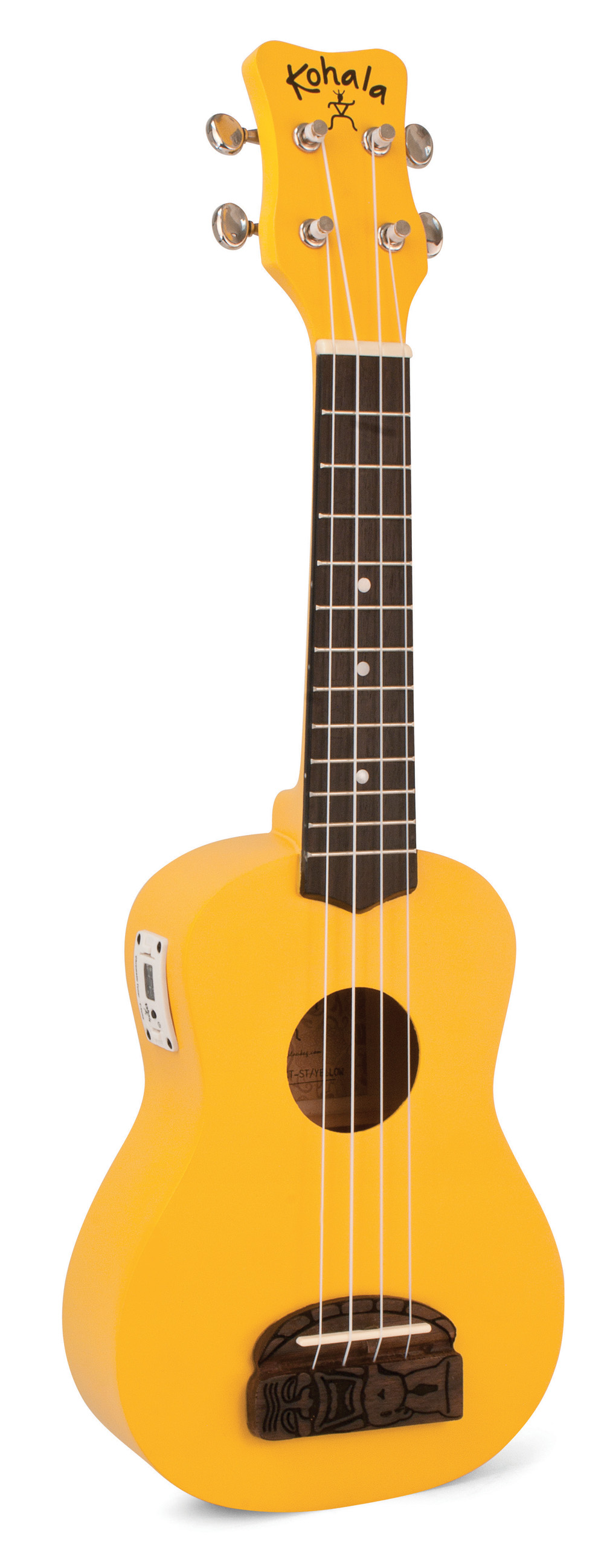 Kohala KT-STYE Tiki Uke Yellow Soprano Ukulele with built in tuner